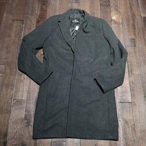 Hollister Wool Blend Long Heather Grey Peacoat L
